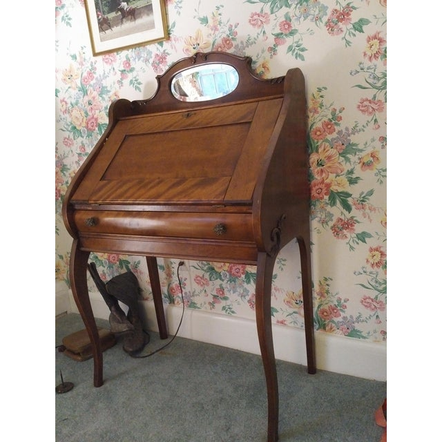 Cherry Wood Cherry Petite Antique Writing Desk For Sale - Image 7 of 10