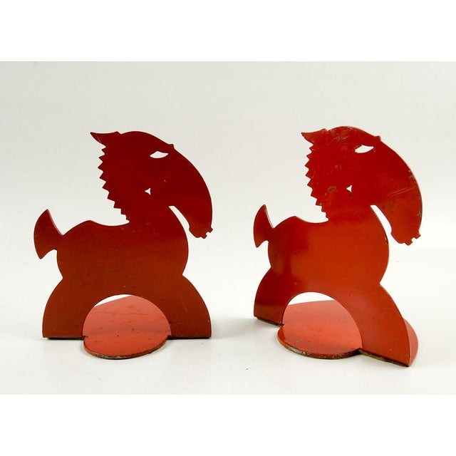 1930s Art Deco Red Horse Bookends For Sale - Image 5 of 5