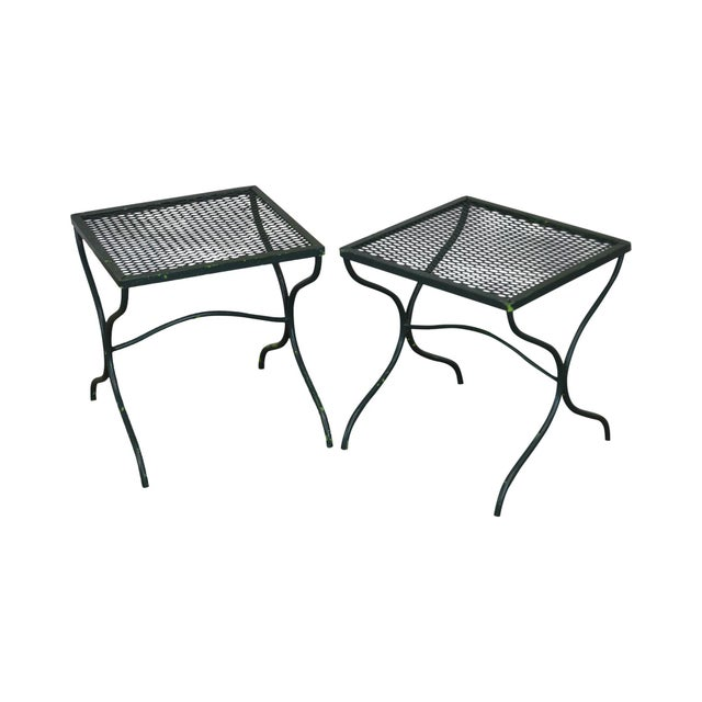 Salterini Vintage Expanded Metal Wrought Iron Pair X-Base Patio Side Tables For Sale - Image 13 of 13