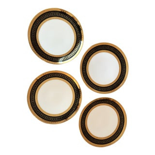 Early 20th Century Vintage Rudolph Wachter Gold and Black Dinner Plates — Set of 4 For Sale