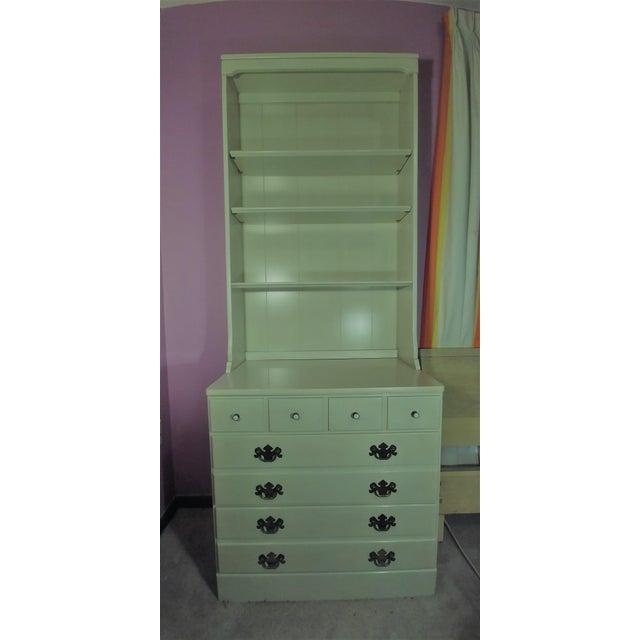 Metal Ethan Allen White Dresser & Hutch For Sale - Image 7 of 7