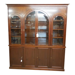 "Monumental Georgian Style Mahogany Bookcase Lighted China Cabinet 96""H x 84.5""W For Sale"