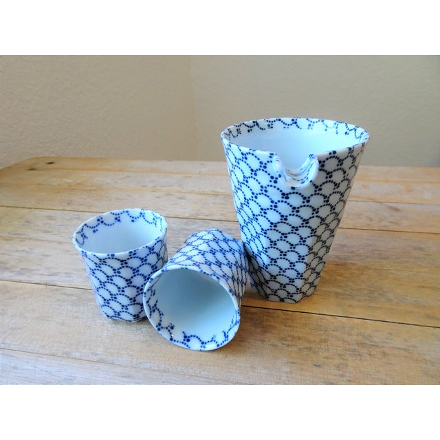 1990s Blue and White Sake Bottle and Cups - Set of 3 For Sale - Image 5 of 11