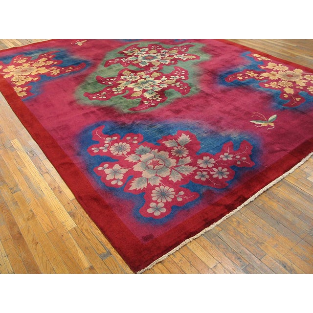 Art Deco 1930s Antique Chinese Art Deco Rug-10′ × 13′6″ For Sale - Image 3 of 5