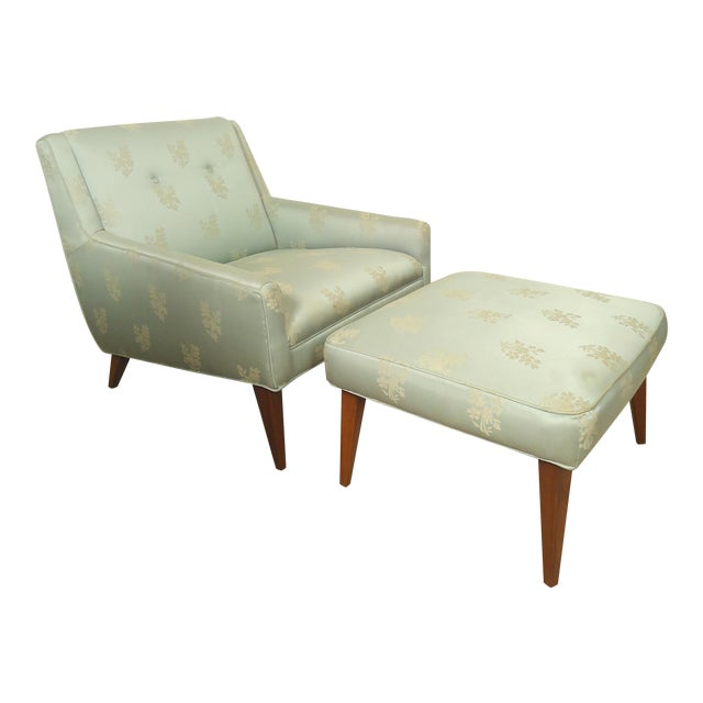 Mid-century Lounge Chair with Matching Ottoman For Sale