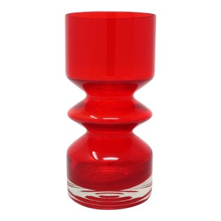 Red Modernist Vase by Tamara Aladin for Riihimaen Lasi Oy For Sale