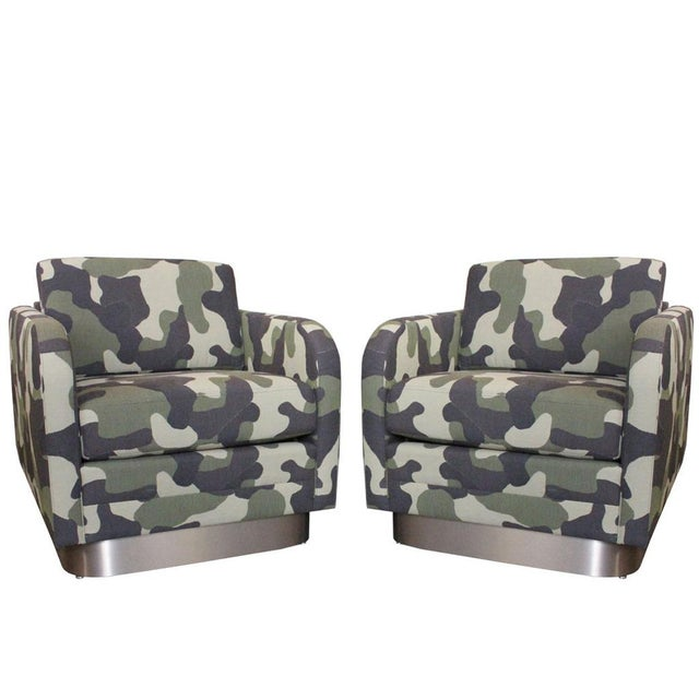 Camouflage Cube Chairs With Bronze Plith - Pair - Image 1 of 8
