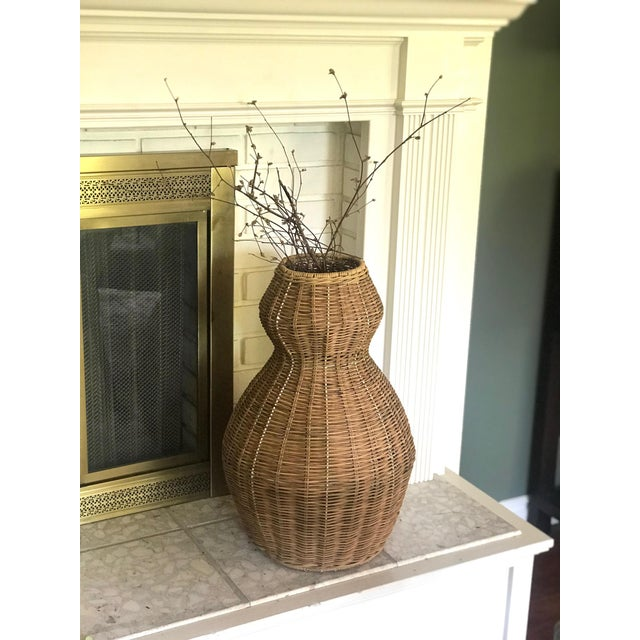 Tall Sculptural Vintage Wicker Double Gourd Basket For Sale - Image 4 of 8