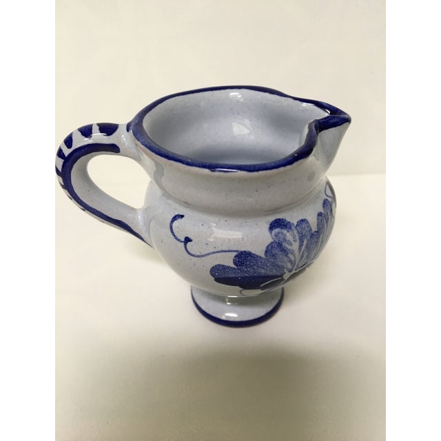 1950's Italian Blue & White Hand Painted Pottery/Ceramic - 4 Pc. For Sale - Image 9 of 11