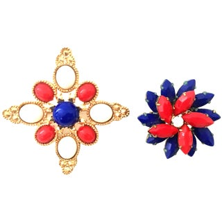 20th Century Sarah Coventry Gold Patriotic Brooches - a Pair For Sale