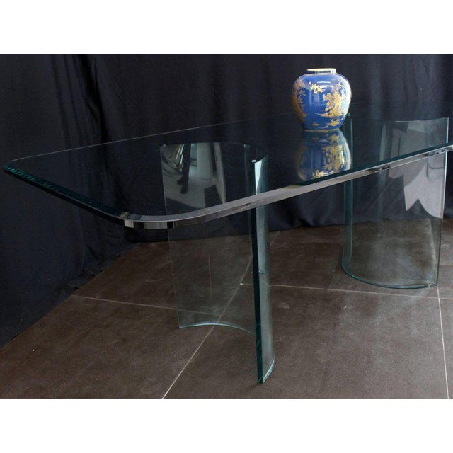 Curved Glass Base Thick 3/4 Glass Top Large Dining Conference Table For Sale In New York - Image 6 of 9