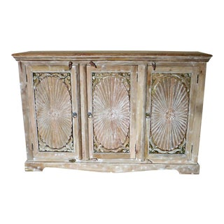 1990s Vintage Wooden Carved White Wash Cabinet For Sale