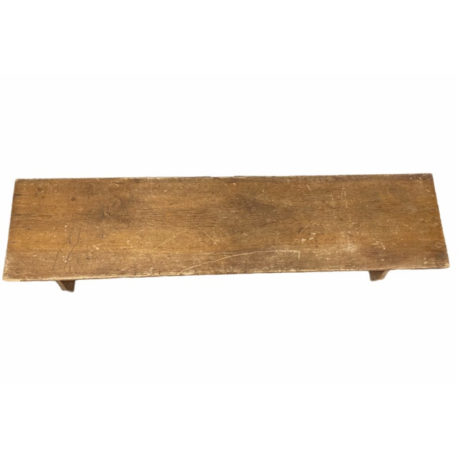 Tan Early 20th Century Vintage Country Farmhouse Wooden Bench For Sale - Image 8 of 10