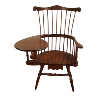 Duckloe Thomas Jefferson Tiger Maple Writing Arm Chair For Sale
