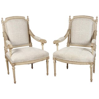 Pair of French Carved Louis XVI Armchairs For Sale