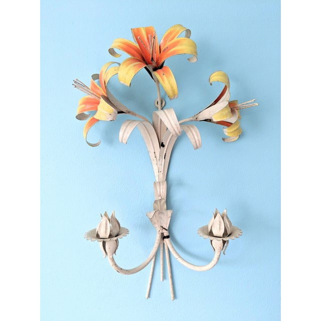 Large Mid 20th Century Italian Tole Yellow & Orange Lily Wall Sconces- a Pair For Sale - Image 4 of 11