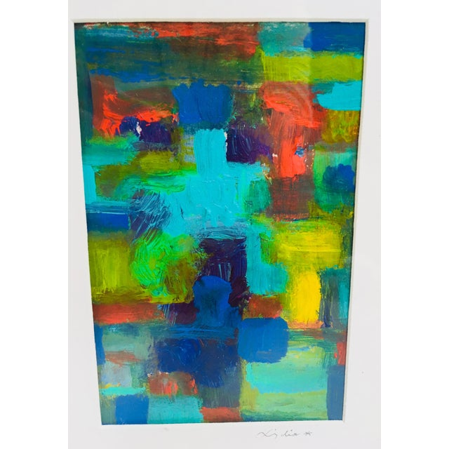 20th Century Abstract Acrylic Painting on Paper For Sale - Image 4 of 7