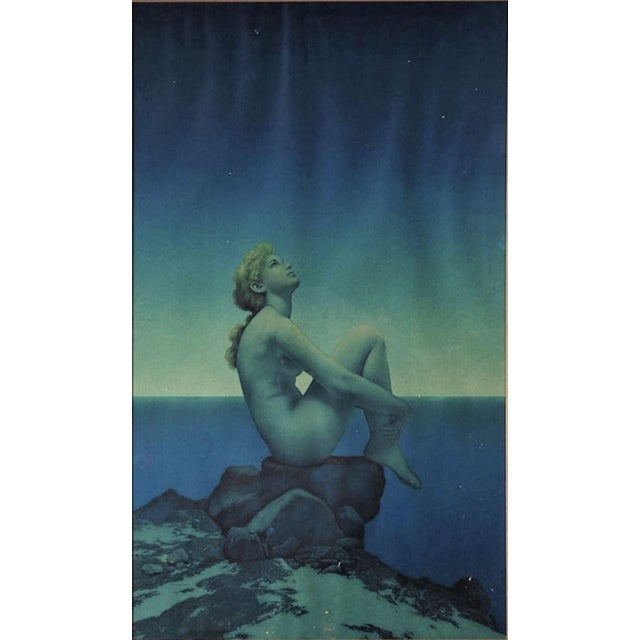 """Art Deco Maxfield Parrish Framed Original Lithograph """"Stars"""", 1920's For Sale - Image 3 of 11"""