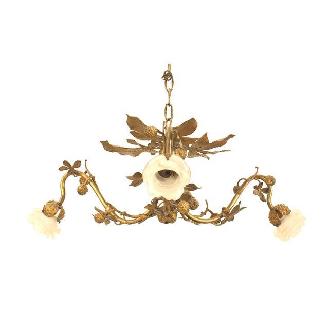 Art Nouveau Art Nouveau Rustic Style Gilt Metal Chandelier For Sale - Image 3 of 3