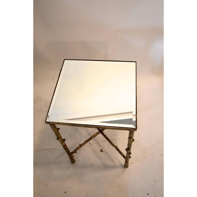 1980s Vintage Beveled Mirror Top Side Table For Sale - Image 4 of 7