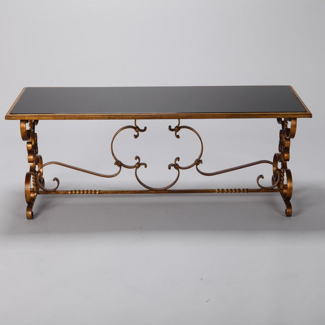 Italian Gilt Iron and Black Glass Cocktail or Coffee Table For Sale - Image 4 of 8
