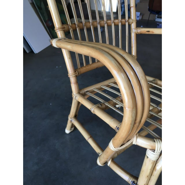 3-Strand Bentwood Rattan Armchair With Stick Rattan Back For Sale - Image 9 of 10