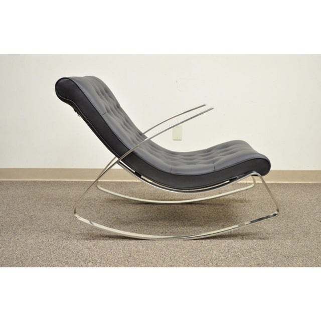 Contemporary Modern Chrome Steel Rocker Rocking Lounge Chair Mid Century Style - Image 2 of 10