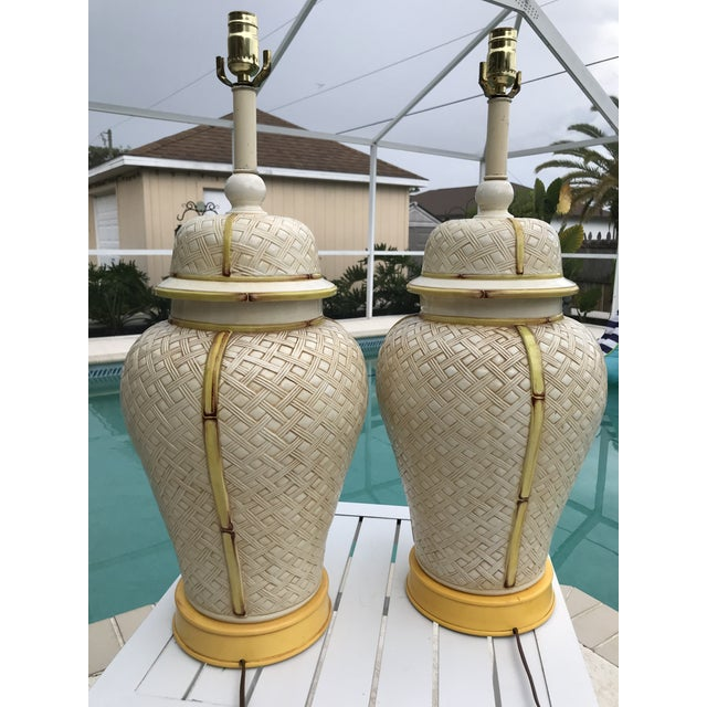 Vintage Faux Bamboo Basket Weave Ginger Jar Lamps-Pair For Sale - Image 4 of 11
