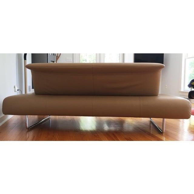 "Minimalism Contemporary Modern B&B Italia Tan Leather ""Cloud"" Sofa For Sale - Image 3 of 4"