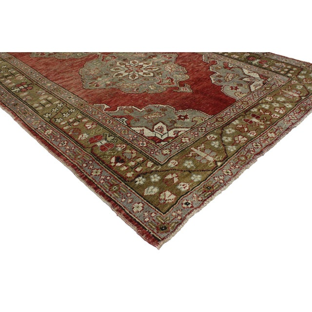 51800 Vintage Turkish Oushak Gallery Rug with Rustic Jacobean Style, Wide Hallway Runner 05'01 x 11'04. This hand knotted...