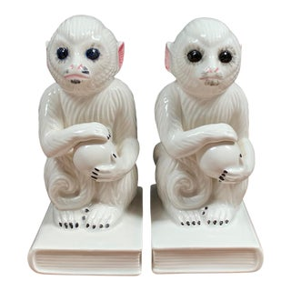 1970s Ceramic Monkey Bookends - a Pair For Sale