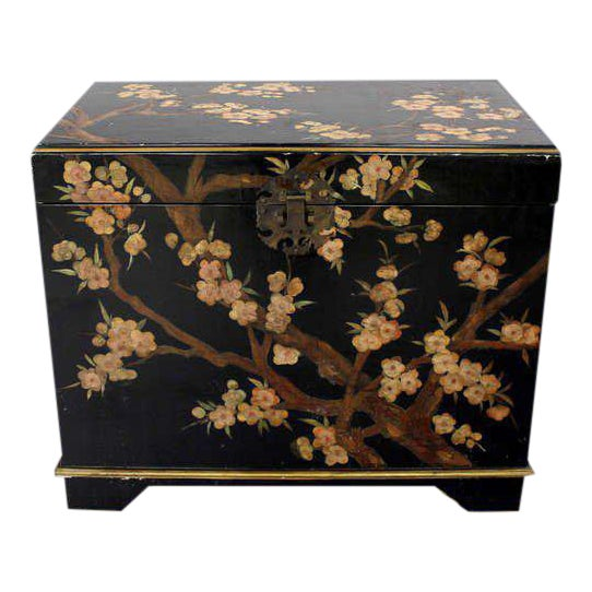 Vintage Mid Century Oriental Hand Painted Black Lacquer Bar Chest For Sale
