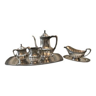 1930s Community Coronation Silver-Plate Coffee or Tea Service - Set of 7 For Sale