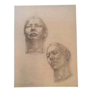 Vintage Double Portrait Woman Life Pencil Drawing For Sale