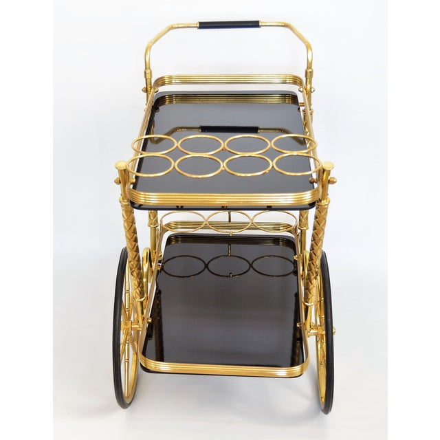 Vintage Italian Brass and Black Glass Bar Tea Cart Mid-Century Modern McM- Cesare Lacca Aldo Tura Style Venetian Millennial For Sale - Image 11 of 11