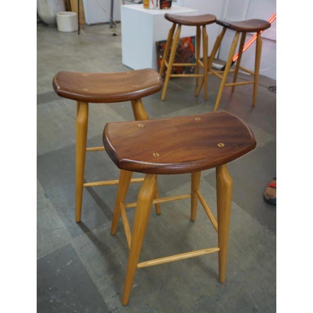 1970s Set of 4 Mixed Wood Barstools For Sale - Image 5 of 10