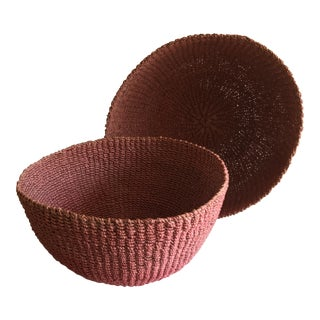 Boho Chic Fiber and Rope Basketweave Bowls - a Pair