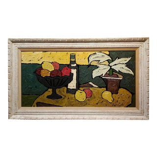 1960s French Oil Painting, Still Life of Fruits by Bernet For Sale