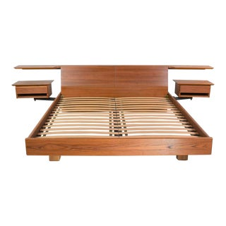 Teak Scandinavian Modern Cal King Storage Platform Bed & Swing-Arm Nightstands by Dyrlund For Sale