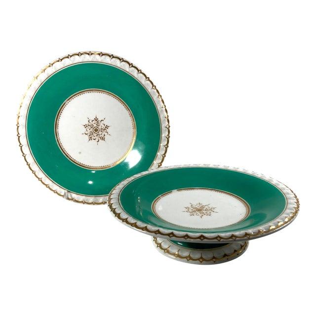 19th-Century English Porcelain Tazzas - a Pair For Sale