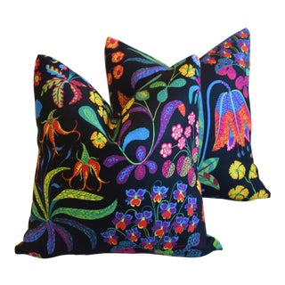"Designer Josef Frank ""Under Ekatorn"" Floral Linen Feather/Down Pillows 18"" Square - Pair For Sale"