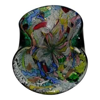 AVeM Murano Green Millefiori Dino Martens Flower Silver Flecks Ribbon Italian Art Glass Bowl For Sale