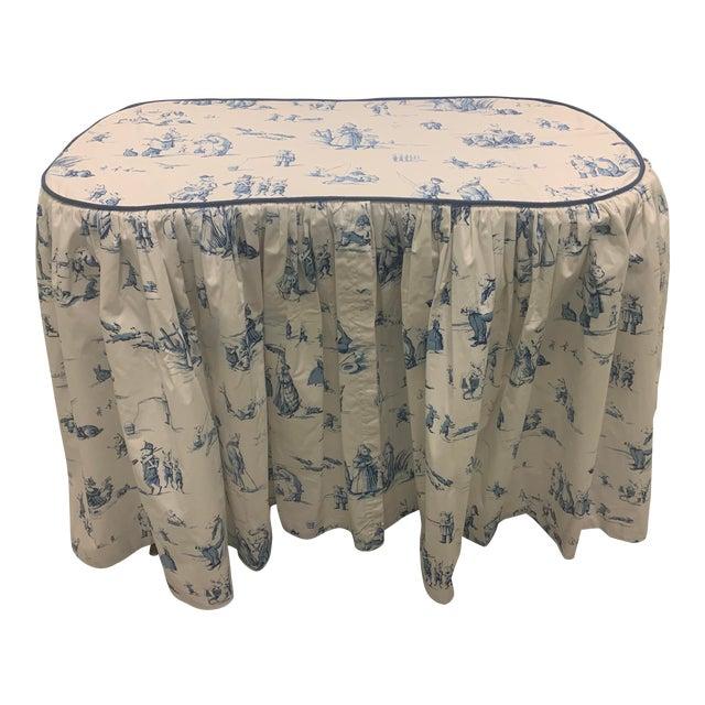 Custom Brunschwig & Fils Fabric Skirted Vanity Table For Sale
