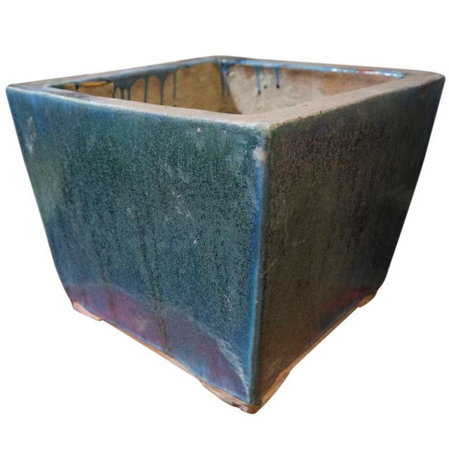 Asian Blue and Green Glazed 20th Century Square Planter For Sale - Image 3 of 6