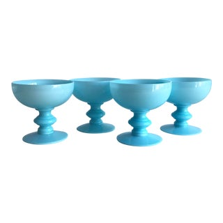 French Blue Opaline Glasses, Set of 4 For Sale