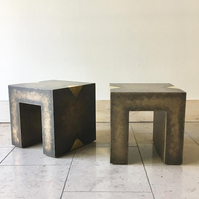 Pair of Square Bronze Collection Side Tables by Talisman Bespoke For Sale - Image 6 of 10