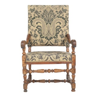 Mid 19th-Century Louis XVI Green Floral Needlepoint Armchair For Sale