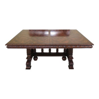 Gothic Theodore Alexander Carved Mahogany Dining Room Table For Sale