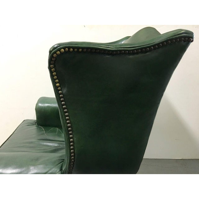 Green Vintage Green Leather Wingback Chairs - A Pair For Sale - Image 8 of 11