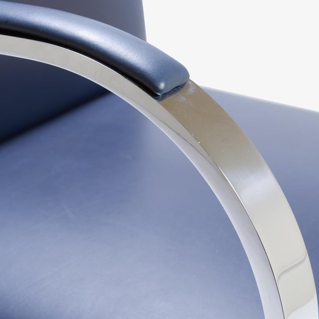 Mies Van Der Rohe for Knoll Brno Flat-Bar Chairs in Navy Leather, Pair - Image 8 of 11